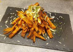Édesburgonya gerezdek fűszeresen, a lehető legegyszerűbben készítve recept foto Sweet Potato, Carrots, Food And Drink, Potatoes, Cooking Recipes, Vegetables, Potato, Kitchens, Chef Recipes