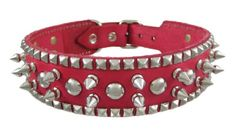 24 Inch Hot Pink Leather Spiked / Studded Dog Collar - M. Girl Dog Collars, Dog Collars & Leashes, Leather Dog Collars, Studded Collar, Studded Leather, Pink Leather, Dog Crate Mats, Best Dog Training, Girl And Dog