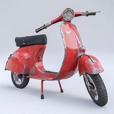 Worn roughed up classic Vespa #vespa #vehicle #scooter #red #italian #c4dtoa #3d #maxon #cinema4d #c4d #render #studio by jhaland