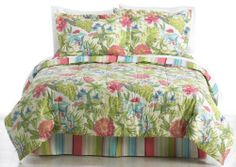 Palm Island Home Breezy Blossoms Queen Bed Set MULTI by Palm Island Home. $69.99. Bealls Exclusive; Imported. Add a tropical feel to your bedroom with this beautiful, 8-pc. king bedding set featuring a bright floral print. Set includes 86'' x 86'' comforter, 60'' x 80'' dust ruffle, 200 thread count flat & fitted sheets, two pillow cases and two pillow shams measuring 20'' x 26''. Poly−Cotton.. Save 30%!