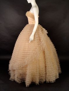 1950s Peach Net & Taffeta Formal http://vintage-martini.myshopify.com/collections/womens-clothing-1950s/products/1950s-peach-net-taffeta-formal-new-item