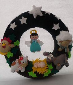 Wreath. Nativity scene wreath.