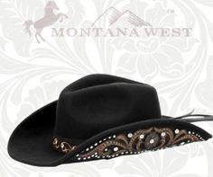 Black And Brown Cowgirl Rodeo Western Hat