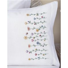 """Stamped Embroidery Pillowcase Pair 20""""X30"""" (242927) 