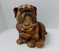 Bulldog Chalkware Bank by L Miller by DocsOddsandEnds on Etsy