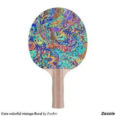 Shop Cute colorful vintage floral Ping-Pong paddle created by ForArt. Vintage Colors, Vintage Floral, Ping Pong Table Tennis, Ping Pong Paddles, Colorful, Cute, Design, Kawaii