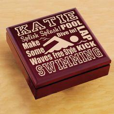 Wood Sports Keepsake Box - Swimming $24.95