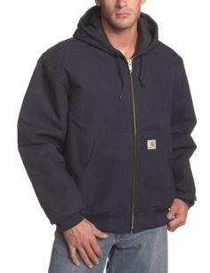 Winter Men Quilted Flannel Lined Duck Active Jacket Dark Navy L