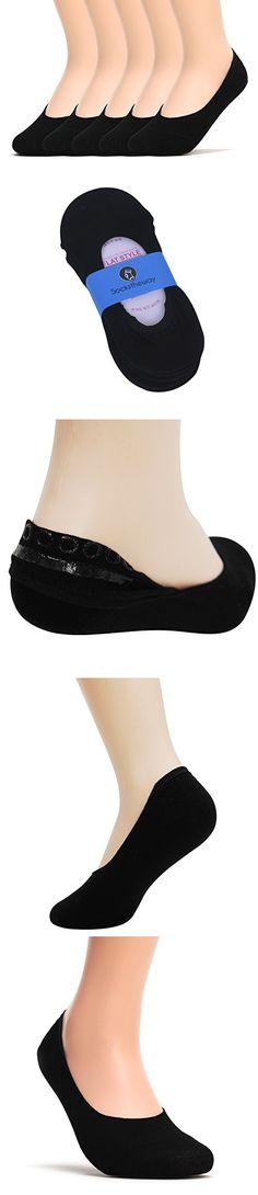 Sockstheway Womens Anti-Slip No Show Socks, Best Low Cut Liner Socks (S, Black, 5P)