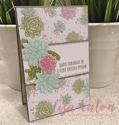 Lisa Eaton | Oh So Succulent | Happy Birthday | Succulent Garden DSP | Stampin' Up!