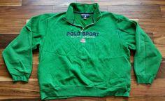 Polo Sport Ralph Lauren USA Flag Sweatshirt 1/2 Zip Spellout green Men's 2XL XXL #PoloRalphLauren #Sweatshirt
