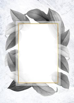 Golden frame on a gray leafy background illustration | free image by rawpixel.com / Kappy Kappy