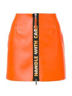 Heron Preston Handle Leather Mini Skirt - Orange Short A Line Skirt A Line Mini Skirt, A Line Skirts, Short Skirts, Preston, Leather A Line Skirt, Leather Mini Skirts, Orange Skirt, Orange Orange, Style Classique