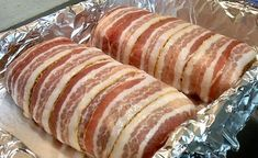 Low carb bacon beef rolls (meatloaf). This recipe is delicious. After baking I broil a few minutes to crisp up the bacon