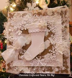 Chocolate Crafts and Bears, Oh My: CottageCutz Shabby Chic Stocking Christmas Card Christmas Gift Tags, Christmas Crafts, Christmas Ideas, Shabby Chic Christmas Stockings, Chocolate Crafts, Beautiful Handmade Cards, Outdoor Christmas Decorations, Holiday Decor, Winter Cards