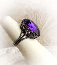 feaf3d685 Romantic purple Swarovski crystal ring gothic victorian ring cocktail  statement ring engagement bridal ring purple bridesmaid