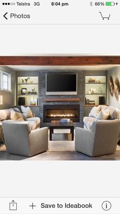 Perfect fireplace / mantle / tv combo