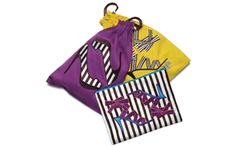 Bendel shoe bag set of 2 drawstring cotton bags that fold into a cotton zipper case.