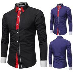 c5f2d85ed Stylish Designer Slim Fit Contrast Color Decoration Chic Dress Shirt for Men  - Black L Business