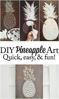 Welcome your visitors with #DIY Pineapple art - That anyone can do! So easy to make! lizmarieblog.com