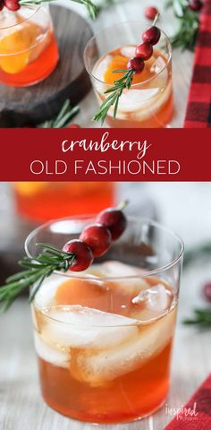 The BEST Cranberry Old Fashioned recipe christmas cocktail cranberry oldfashioned recipe cocktail bourbon via inspiredbycharm New Year's Desserts, Cute Desserts, Dessert Recipes, Drink Recipes, Brandy Old Fashioned, Old Fashioned Recipes, Easy Cocktails, Cocktail Recipes, Cocktail Videos