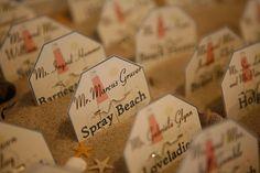 Beach Wedding Escort Cards - Beach Badge Place Cards