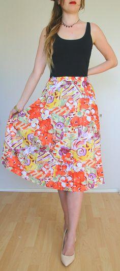 Skirt pattern pleated  80' Romantic retro XL/XXL 50/52