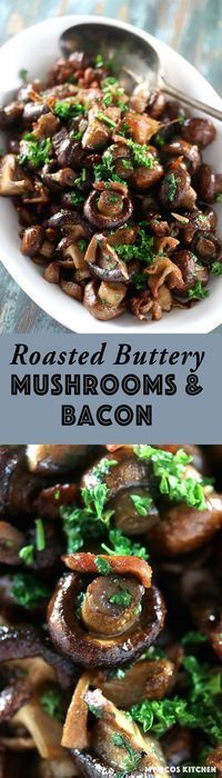 My PCOS Kitchen - Roasted Buttery Mushrooms & Bacon - This appetizer is perfect . My PCOS Kitchen – Roasted Buttery Mushrooms & Bacon – This appetizer is perfect for any holiday Low Carb Side Dishes, Side Dish Recipes, Veggie Recipes, Great Recipes, Appetizer Recipes, Appetizer Ideas, Favorite Recipes, Fruit Appetizers, Christmas Appetizers