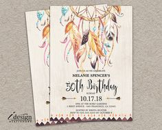 Boho Birthday Invitations l 50th Birthday Invitation For Women l Diy Printable Tribal Dream Catcher 30th 40th 60th Birthday Party Invite