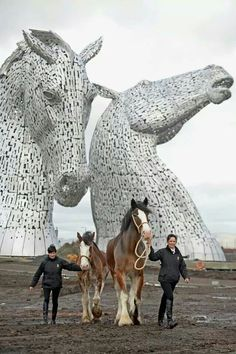 The Kelpies: two 30-meter-tall horse head sculptures near Felkirk, Scotland