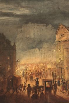 The Porteous Riot by James Skene, 1818 - Porteous Riots - Wikipedia, the free encyclopedia Visit Edinburgh, Scotland, Old Things, Animation, City, Painting, Events, Free, Painting Art
