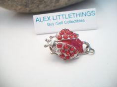 red rhinestone ladybug pin ladybug pin critter by ALEXLITTLETHINGS, $8.99