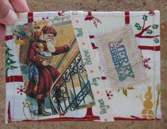 handmade Christmas fabric postcard free post by Woollybuttbears, $4.50