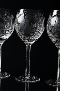 Set of 2 Cut Crystal Wine Glasses Cut Glass Wine Glasses High Quality Etched Glass Rose Decor Roses Vintage Stemware