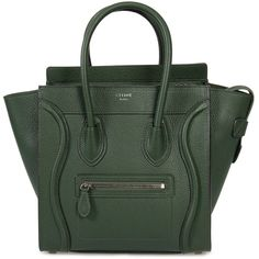 Celine Micro Luggage Tote Bag in Green Baby Drummed Calfskin Leather (106.850 RUB) ❤ liked on Polyvore featuring bags, handbags, tote bags, purses, celine, green, new arrivals, celine handbags, tote handbags and handbags totes