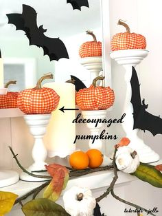 Halloween Bats in an Orange Orchard Mantel. Pumpkins on orange vines, farmhouse signs, decoupaged pumpkins and bats make a bright Halloween mantel with a slightly spooky side! Halloween Theme Preschool, Halloween Themes, Halloween Mantel, Halloween Bats, Farmhouse Signs, Vines, Crafty, Orange, Fall Decorating
