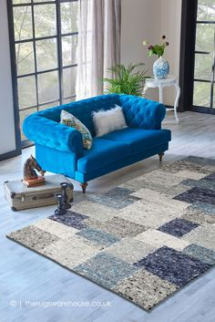 Patchwork Rugs, Patchwork Patterns, Wool Rugs, Wool Area Rugs, Blue Rugs, Shades Of Blue, Morocco, Hand Weaving, Teal