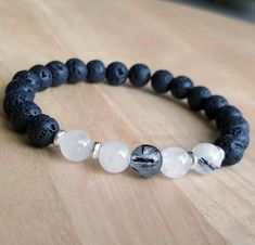 Tourmalinated quartz and Lava stone Bracelet for men or women!