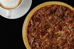This pecan pie is baked in a graham cracker crust or cookie crumb crust.