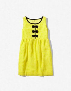 This is adorable for summer in a nice linen or knit.  Love the bright yellow with the black bows.