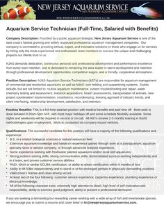 We're adding to our team!  Owing to a large number of new project and service requests, NJAS is seeking a motivated, detail-oriented professional aquarist/ aquarium #biologist to fill a newly created Aquarium Service Technician position.    The successful candidate will be joining a team dedicated to providing NJ, PA, and NY with healthy, sustainable, and vibrant aquarium displays.   Forward resumes and cover letters to hr@newjerseyaquariumservice.