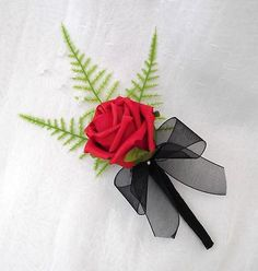 Red And Black Wedding Flowers | 10 X ROSE BUTTONHOLES IN RED AND BLACK - ARTIFICIAL WEDDING FLOWERS