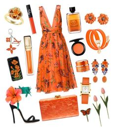 """Orange Dream"" by bhavna27 on Polyvore featuring Dsquared2, Edie Parker, Zero Gravity, Louis Vuitton, Bounkit, Versus, Hermès, Effy Jewelry, FAUSTO PUGLISI and GlamGlow"