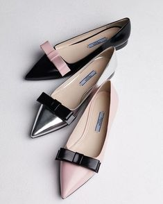 Prada Bicolor Pointed-Toe Flats- great for my re-broken ankle:( love these. How can you go wrong with Prada, Gucci, Louboutin, Manolo's, Edleman or Dior ! My dream show closet! Cute Shoes, Me Too Shoes, Mocassins, Bow Flats, Pointed Toe Flats, Ballerinas, Beautiful Shoes, Designer Shoes, Designer Handbags