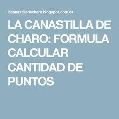 LA CANASTILLA DE CHARO: FORMULA CALCULAR CANTIDAD DE PUNTOS