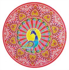 Colorful Sticker Rangoli Peacock Print on Glazed Paper
