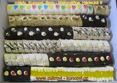 rolády a řezy různých chutí, www.cukrovi-kuncovi.cz , roláda marcipánová,ořechová, čokoládová, kávová, kokosová, řezy oříškové a anannasové Kuncovi, Brno - Maloměřice, Hádecká 8 www.cukrovi-kuncovi.cz/cukrarska-vyroba/mini-zakusky Desserts, Recipes, Tailgate Desserts, Deserts, Postres, Dessert, Ripped Recipes, Cooking Recipes