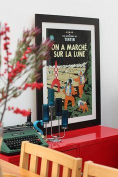 Tintin poster inside with vintage typewriter • Tintin themed interior design living room • Herge, Tintin et moi