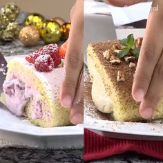Do not miss the opportunity to prepare this gypsy arm filled with 2 different and exquisite options for dessert: red fruits or chocolate coffee. Cake Mix Recipes, Baking Recipes, Dessert Recipes, Cupcake Cakes, Food Cakes, Food Garnishes, Yummy Food, Tasty, No Bake Desserts