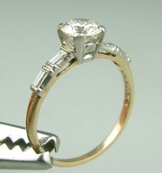 Fine Vintage Gold Platinum Diamond Engagement Ring Estate Jewelry